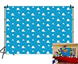 BINQOO 7x5ft Cartoon Blue Sky White Clouds Backdrop Toy Story Kids Birthday Party Boy Baby Shower Photography Background Photo Studio Props