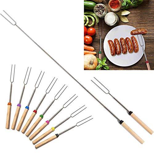 Z-MIN 8 pcs télescopique Barbecue brochettes fourchettes en Acier Inoxydable bâtons Barbecue en Bois poignée