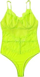 Women Solid Sexy Lace Lingerie ❀ Ladies One Piece Mesh Perspective Sling Underwear Sleepwear