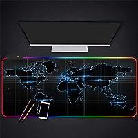 マウスパッド黒の世界地図HDプリントRGBゲーミングマウスパッドLED発光ラバーマウスマットコンピューターラップトップキーボードデスクパッド、900*400 MM
