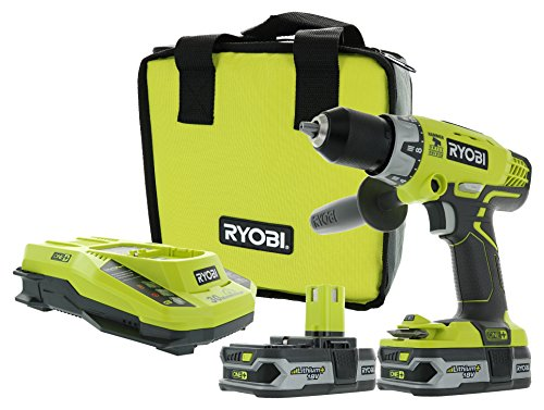 Ryobi P1812 One+ 18V Lithium Ion Cordless 600 Inch Pound Hammer Drilling Combination Kit (1 x P214 Hammer Drill, 2 x P107 18V Batteries, 1 x P117 Charger, 1 x Tool Bag)