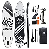 IBATMS Inflatable Stand Up Paddle Board with Premium SUP Accessories & Backpack, Non-Slip Deck,Waterproof Bag, Leash, Fin,Paddle and Hand Pump Youth & Adult (Black, 10'5''x31 x6(320x80x15cm)