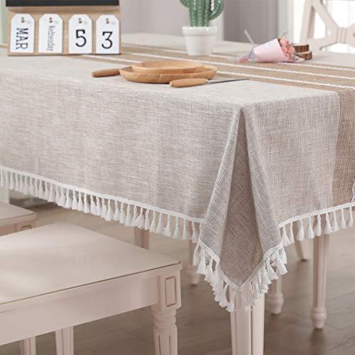 Vailge Tischdecke Rechteckige Tischtuch Leinendecke Leinen Tischdecke Abwaschbar, Tischdecken Wasserabweisend mit Quaste Edge Tischwäsche für Home Küche Dekoration (Khaki, 140 x 140 cm)