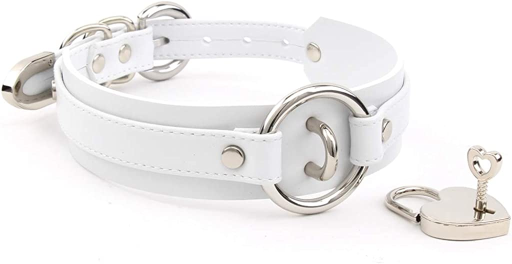 Handmade Heart Lock O Ring Thick Faux Leather Choker Collar Necklace