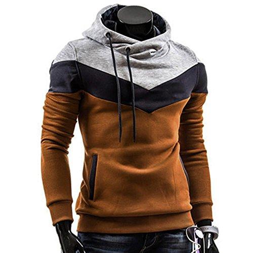 Men's Outwear,Laimeng Cotton Blend Fashion Retro Long Sleeve Hoodie Hooded Sweatshirt Tops Jacket Coat Outwear (Coffe, L)