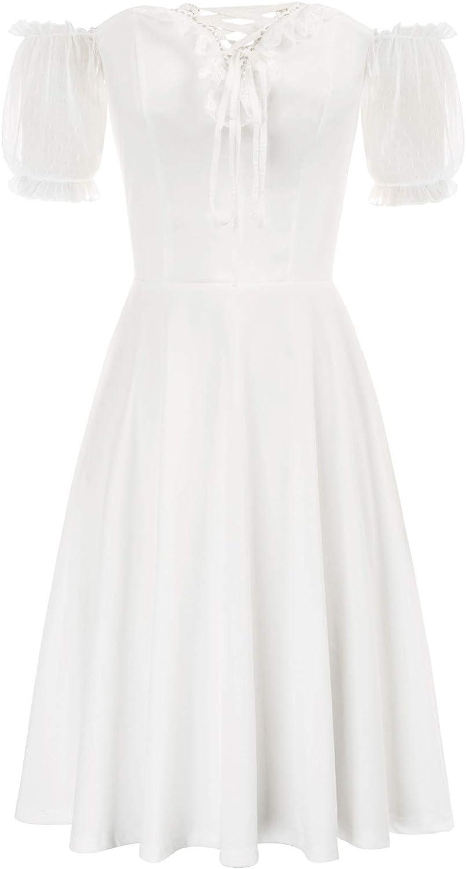 SCARLET DARKNESS Womens Dress Casual Off Shoulder Mesh Short Sleeve Gothic Dress