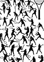 igsticker ポスター ウォールステッカー シール式ステッカー 飾り 1030×1456㎜ B0 写真 フォト 壁 インテリア おしゃれ 剥がせる wall sticker poster 004831 スポーツ テニス イラスト