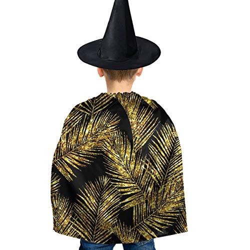 Amoyuan Unisex Kids Kerstmis Halloween Heks Mantel Met Hoed Goud Glitter Palm Bladeren Hipster Wizard Cape Fancy Jurk