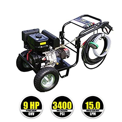 Kiam KM3400P 9hp Industrial Petrol Pressure Washer (3400PSI @ 15 Ltr/Min) High Jet Power Driveway Patio Car Block Paving Cleaner by KIAM POWER PRODUCTS