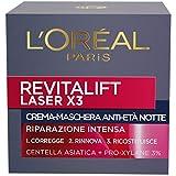 L'Oréal Paris Crema Viso Notte Revitalift Laser X3, Azione Antirughe Anti-Età con Acido Ialuronico e Pro-Xylane, 50 ml