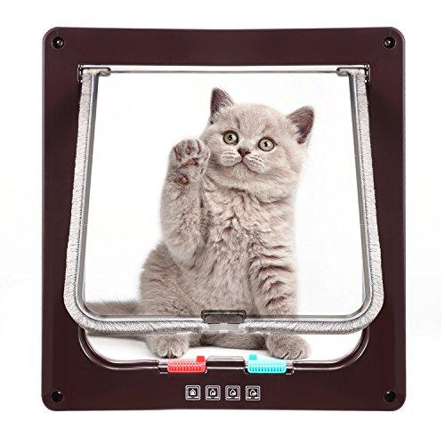 Katzenklappe Hundeklappe mit 4-Wege-Magnet-Schließ,Haustierklappe für Katzen und kleine Hunde, Katzentüre mit Tunnel,Installieren Leicht mit Teleskoprahmen (M-19 x 20cm, Braun)
