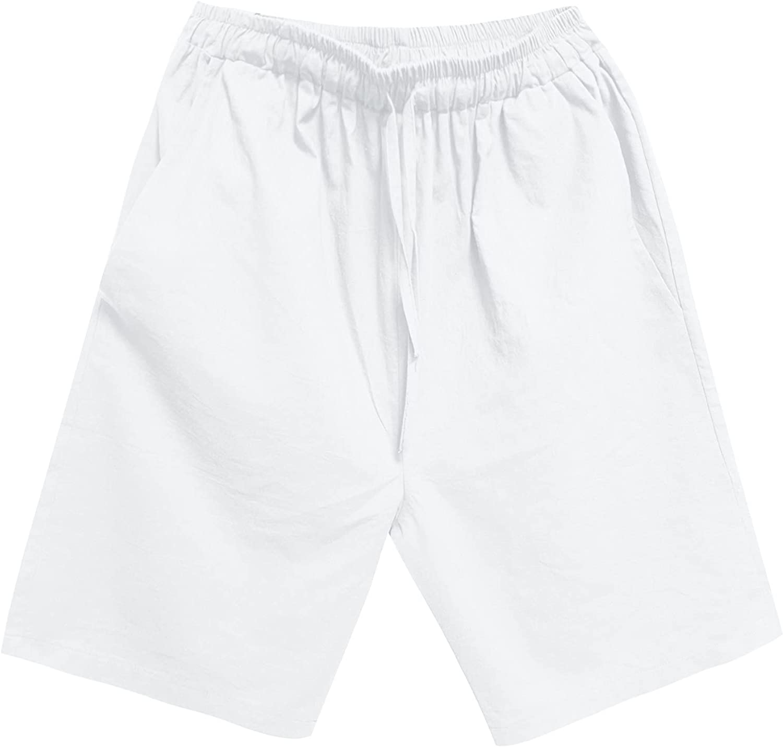 ZCAITIANYA Men's Cotton Linen Shorts Leisure Shorts Summer Outdoor Workout Loose Drawstring with Elastic Waist Beach Shorts