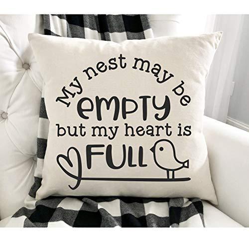 Funda de cojín con texto en inglés 'My Nest may be empty but my heart is full ', lienzo de algodón, nido vacío, funda de cojín, regalo para abuelos.