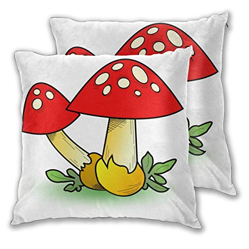 JONINOT 2 PCS 16'x16' Mushrooms Throw Pillow Cushion Case,Inserts are Not Included