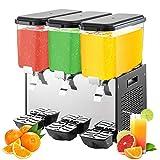 VEVOR Máquina de Dispensador de Bebida 54 L, Máquina de Bebidas Frío con Tanques 18 L * 3, Máquina de Dispensador de Jugo 350 W, Máquina de Bebidas Frías de Acero Inoxidable Temperatura 7-12℃