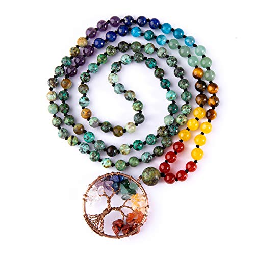 Bivei 108 Mala Beads Bracelet - 7 Chakra Tree of Life Real Healing Gemstone Yoga Meditation Hand Knotted Mala Prayer Bead Necklace(African Turquoise)