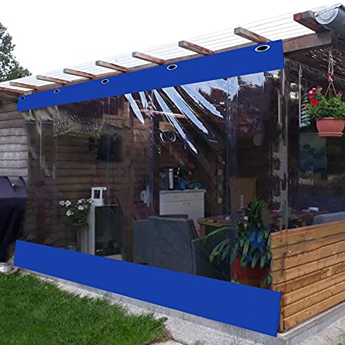Lona alquitranada Cortina de Vinilo para Exteriores con Panel de Lona Transparente, Lona Revestida con Costuras de Lona Transparente Azul, PVC de 0,5mm a Prueba de Viento, para Marquesinas, Cenador
