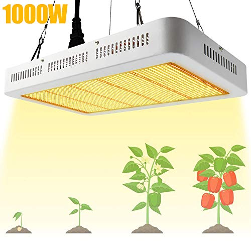 Derlights LED Pflanzenlampe 1000W Grow Lampe Pflanzenlicht Vollspektrum LED Grow Light mit IR UV wachstumslampe für Pflanzen Gewächshaus Samen Knospe Gemüse und Blüte