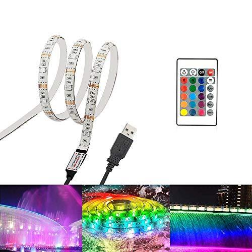 LED-Lichtleiste, LED-Farblichtleiste, LED-Lichtkette, Fernbedienung mit 24 dimmbaren Tasten, die Farbe kann nach Belieben geändert werden,geeignet für Schlafzimmer,Wohnzimmer,TV,Partydekoration (1M)