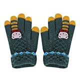 FakeFace Süße Kinder Fingerhandschuhe Gestrickte Handschuhe mit Katze Jungen Mädchen Winter Warme Strickhandschuhe Kinderhandschuhe (Grün-Bär)