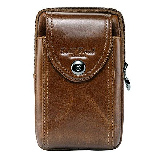 Sunmig Handyhülle aus echtem Leder, Gürteltasche, Geldbörse für iPhone 6S, 6 Plus, 5S, 5C, Samsung Galaxy Note 5, 4, 3, LG G4, G3, braun
