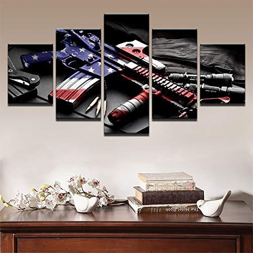 hllhpc (No Frame) Modern S voor modulaire schilderkunst, 5 platen, pistolen, foto, wand, kunst voor woonkamer, decoratie thuis, oog, kunstdruk op canvas (40 x 60 x 80 x 40 x 100)