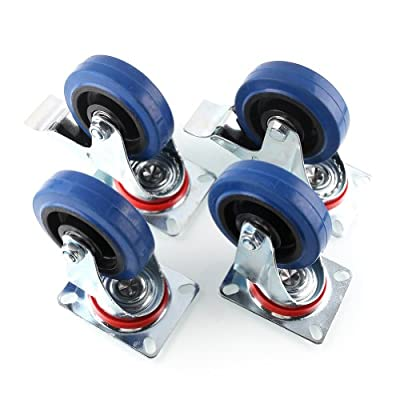 Mvpower Swivel Caster Wheels, 4 Pack Heavy Duty 4 Inch Wheels with 360 Degree Top Plate Casters (2 with Brake 2 Fixed Plate)