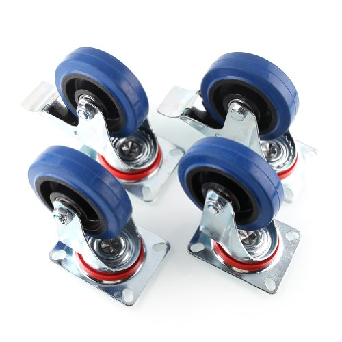 Mvpower Rubber Casters, 4 Pack Casters Heavy Duty 4 Inch Pneumatic Caster Wheels with 360 Degree Polyurethane Wheels No Noise Wheels Top Plate Casters (2 with Brake 2 Fixed Plate) -Blue