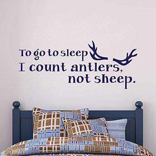 Adhesivo decorativo para pared con texto en inglés «To go to Sleep I Count Antlers not Sheep». Cita de pared para habitación de niños, habitación infantil, color blanco, 23 cm de alto x 56 cm de ancho, para hombres