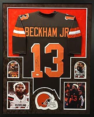 Odell Beckham Jr Cleveland Browns Autograph Signed Custom Framed Jersey SUEDE MATTED JSA Witnessed Certified