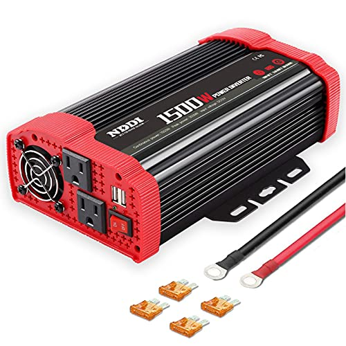 NDDI 1500W Car Power Inverter 12V DC to 110V AC Car Converter Charger Adapter with Dual 3.1A USB Port and AC Outlets Quick Charging