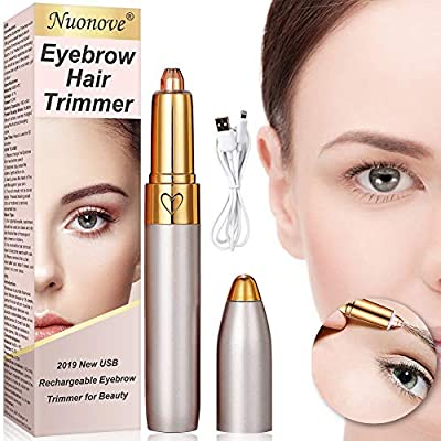 Eyebrow Hair Remover, Eyebrow Trimmer for Women, USB Charging Electric Eyebrow Trimmer, Eyebrow Trimmer Epilator for Women, Led Light Eyebrow Remover, Lipstick Design, Sharpness/Safety/Painless from Nuonove-Store