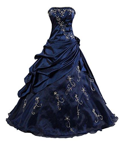 Kmformals Damen Ballkleid trägerlosen Prom Kleider Abendkleidung Größe 50 Blau