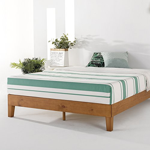 Mellow Naturalista Grand - 12 Inch Solid Wood Platform Bed with Wooden Slats - No Box Spring Needed - Queen (Natural Pine)