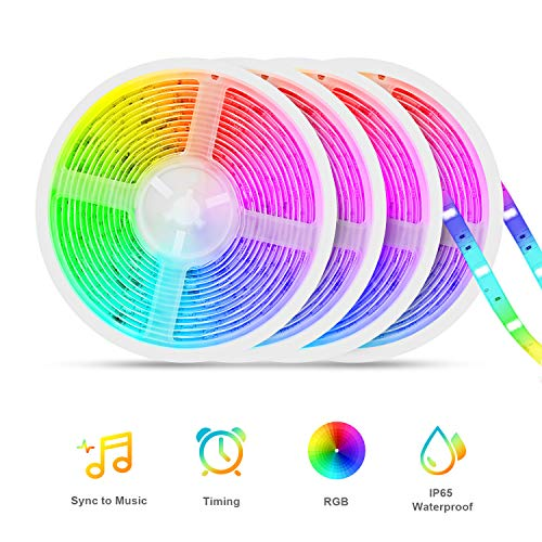 Led Strip Lights Sync to Music, Tasmor 65.6ft 5050 RGB Light Color Changing with Music IP65 Waterproof LED Rope Light with Controller...