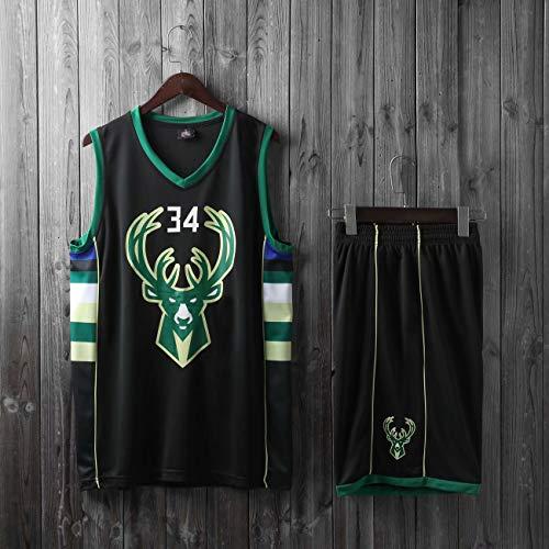 HS-XP Niños Hombres Adultos NBA Milwaukee Bucks # 34 Giannis Antetokounmpo Camisetas De Baloncesto, Camisa De Verano Sin Mangas Chaleco + Pantalones Cortos Arriba,Negro,XL(Child) 145~155CM