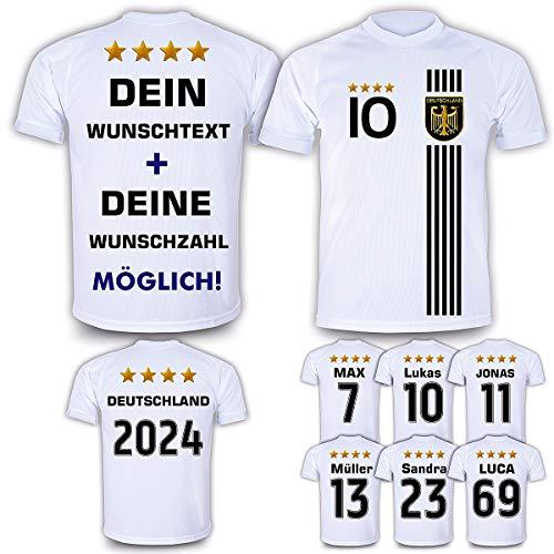 Deutschland Trikot mit GRATIS Wunschname + Nummer + Wappen Typ #D 2021 günstig im EM/WM Weiss - Geschenke für Kinder,Jungen,Baby. Fußball T-Shirt personalisiert