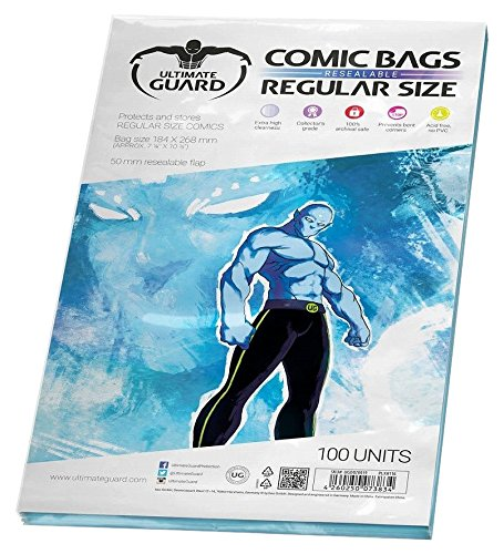 Ultimate Guard UGD020019 - Fundas para cómic (Reutilizables, tamaño Regular, 100 Unidades)