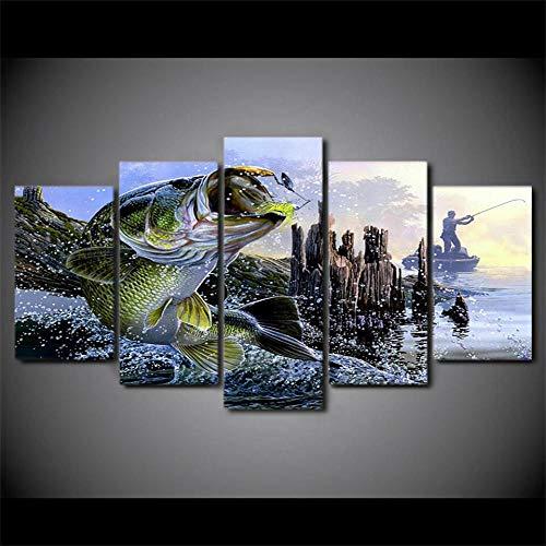 DBFHC Bilder 5 Teilig Leinwandbilder Bild Angeln Bass Wassersee Auf Leinwand Wandbild Kunstdruck Wanddeko Wand Wohnzimmer Wanddekoration Deko Geschenk 150X80Cm