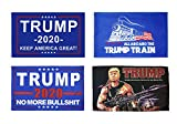 KENPMA 4 Pieces 3x5 Foot Donald Trump 2020 Keep America Great Flag - No More BS Flag - All Aboard The Trump Train Flag - Trump Rambo Make America Great Again Bazooka Flag with Grommets - Polyester
