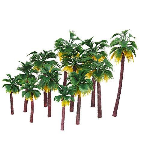 Paquete De 12, Modelo De áRbol De Palmera De Coco, Hecho De PláStico, Utilizado Para El DiseñO Del Modelo Tridimensional De La Selva Tropical Y Adorno De Torta, Verde