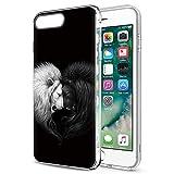 Pnakqil Funda para iPhone 8 Plus / 7 Plus, Silicona 3D Transparente con Dibujos Diseño Slim Suave TPU Antigolpes Ultrafina de Protector Piel Case Cárcasa Fundas para iPhone 8Plus, León Negro Blanca