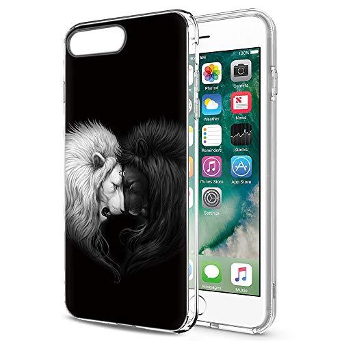 Pnakqil Coque iPhone 8 Plus / 7 Plus, Etui en Silicone 3D Transparent avec Motif Fun Design Anti Choc TPU de Protection Couverture arrière Case Cover Coque pour Apple iPhone 8Plus, Lion Noir Blanc