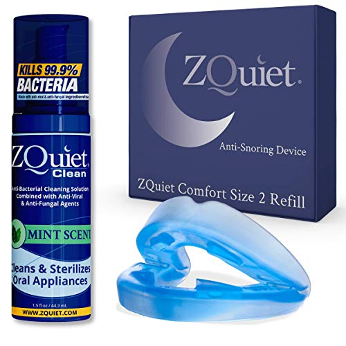 ZQUIET Anti-Snoring Mouthpiece Solution, Comfort Size #2 (Single Device, No Storage Case) + Anti-Bacterial Cleaner (1.5oz Bottle) -Made in USA & FDA Cleared, Sleep Aid, Dentist Designed Oral Appliance