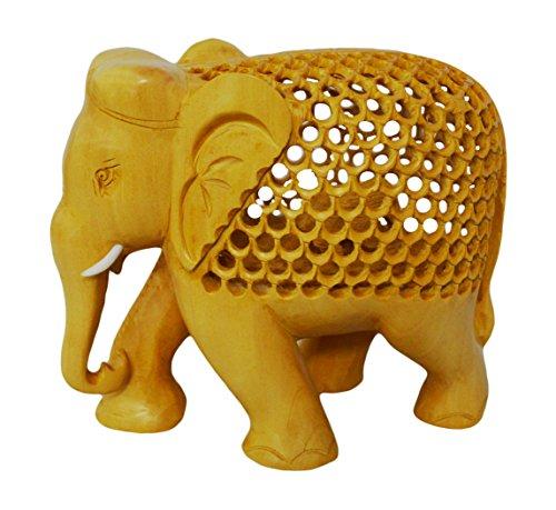 Zap Impex Elefant dekorative handgeschnitzte Holzfigur Baby in den Bauch