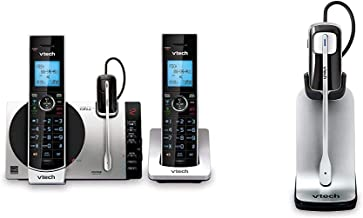 """$129 » VTech Connect to Cell DS6771-3 DECT 6.0 Cordless Phone - Black, Silver, 6.9"""" x 4"""" x 6.6"""" & Accesssory Cordless Headset"""