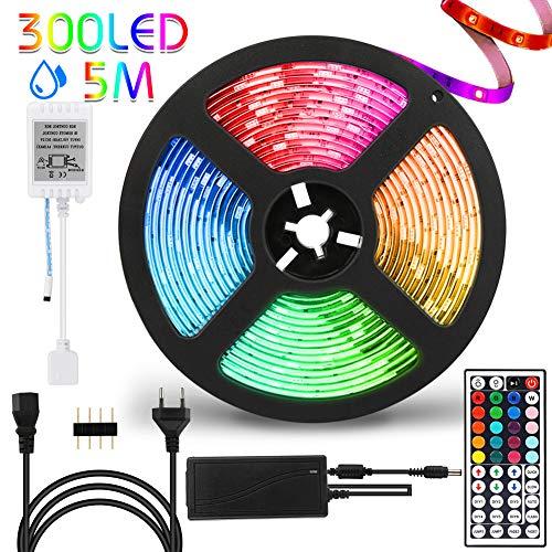 Led Strip 5m, Led Streifen, Hospaop RGB LED Stripes 5M 300LEDs SMD 5050 Schnittbar Selbstklebende Led Streifen mit 44 Tasten Fernbedienung, IP65 Wasserdicht LED Beleuchtung LED Band für Innen außen