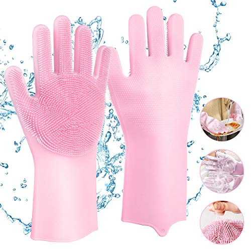 petit un compact Gants en silicone avec brosses de nettoyage, gants magiques réutilisables sur la vaisselle Comius Sharp…