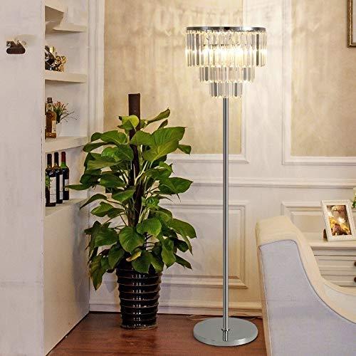 JSJJAER Lampara de pie Cristal de la lámpara de Piso de Lujo Dormitorio Moderno Simple Estudio dirigido luz Creativa Sala de Estar Gris Ahumado o Transparente Decoración hogareña acogedora