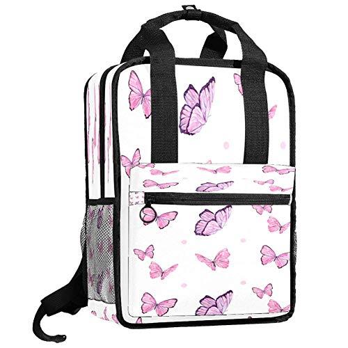 Backpacks Shoulders Bag pink flying butterfly Backpack traveling middle school high school